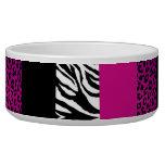Hot Pink Leopard and Zebra Custom Animal Print Bowl