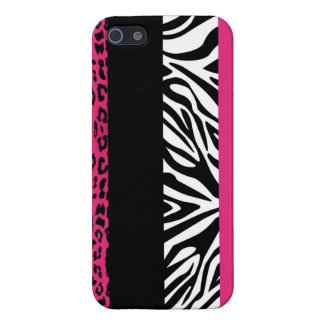 Hot Pink Leopard and Zebra Custom Animal Print Case For iPhone SE/5/5s