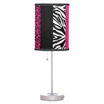 Hot Pink Leopard and Zebra Custom Animal Print Desk Lamp