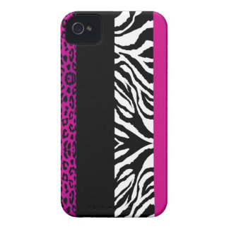 Hot Pink Leopard and Zebra Custom Animal Print iPhone 4 Case