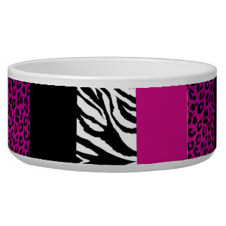 Hot Pink Leopard and Zebra Custom Animal Print Dog Bowls