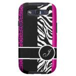 Hot Pink Leopard and Zebra Monogram Animal Print Galaxy S3 Cases