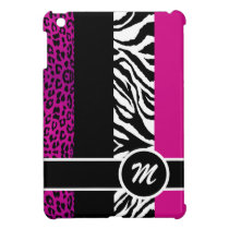 Hot Pink Leopard and Zebra Monogram Animal Print iPad Mini Case