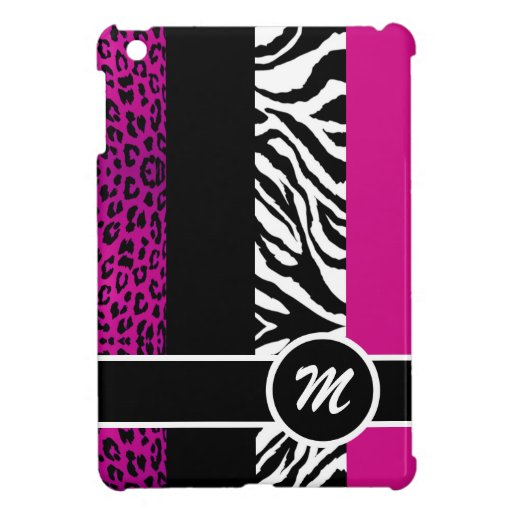 Hot Pink Leopard and Zebra Monogram Animal Print Case For The iPad Mini
