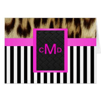 Hot Pink Leopard Black White Stripe Monogram Cards