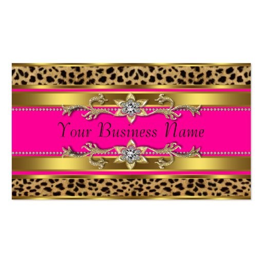 Leopard print business cards business card templates bizcardstudio hot pink leopard business cards colourmoves