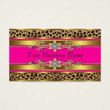 Professional Business Hot Pink Leopard Business Cards