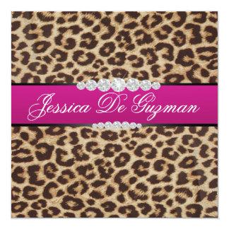 Hot pink Leopard Debut Custom Invites