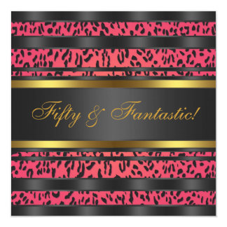 Hot Pink Leopard Gold Womans 50th Birthday Party Card