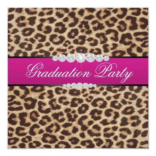 Hot pink Leopard Graduation Party Card