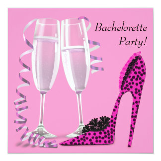 Hot Pink Leopard High Heel Bachelorette Party 5.25x5.25 Square Paper Invitation Card