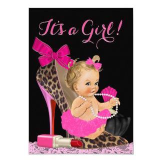 Hot Pink Leopard High Heel Shoe Baby Shower Card