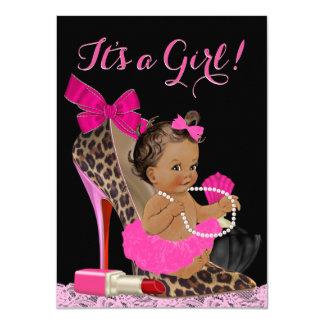 Hot Pink Leopard High Heel Shoe Ethnic Baby Shower Card