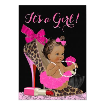 Toddler & Baby themed Hot Pink Leopard High Heel Shoe Ethnic Baby Shower Card