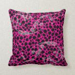 Hot Pink Leopard Pattern Pillow