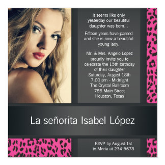 Hot Pink Leopard Personalized Photo Quinceanera Card