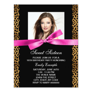 Hot Pink Leopard Photo Sweet 16 Birthday Party 4.25x5.5 Paper Invitation Card