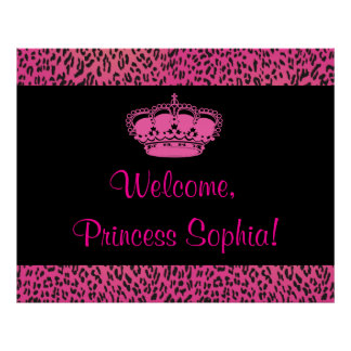 Hot Pink Leopard Princes Party Banner Poster