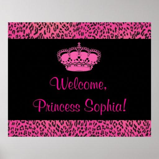 Hot Pink Leopard Princes Party Banner Print