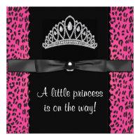 Hot Pink Leopard Princess Baby Girl Baby Shower Invitation