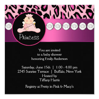 Hot Pink Leopard Princess Girl Baby Shower Invitation