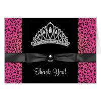 Hot Pink Leopard Princess Thank You Cards
