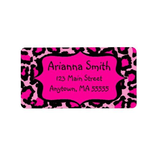Hot Pink Leopard Print Address Labels