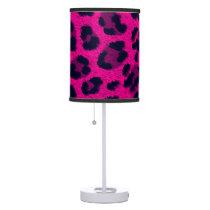 Hot Pink Leopard Print Animal Fur Pattern Lamp