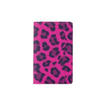 Hot Pink Leopard Print Animal Pattern Pocket Moleskine Notebook