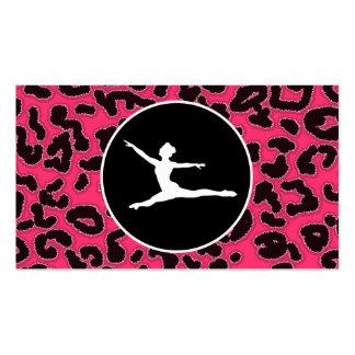 Hot Pink Leopard Print Ballet Dancer Business Card Templates