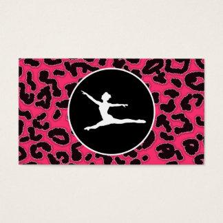 Hot Pink Leopard Print; Ballet Dancer Business Card