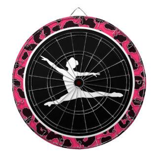 Hot Pink Leopard Print; Ballet Dancer Dartboard With Darts