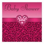 Hot Pink Leopard Print & Bling Heart Baby Shower Invitation