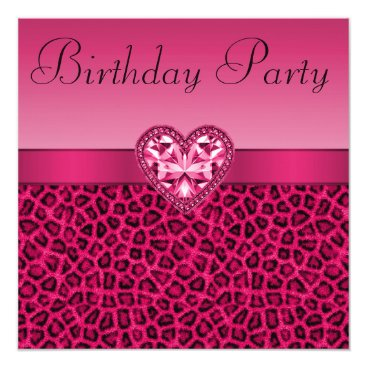 Valentines Themed Hot Pink Leopard Print & Bling Heart Birthday Card