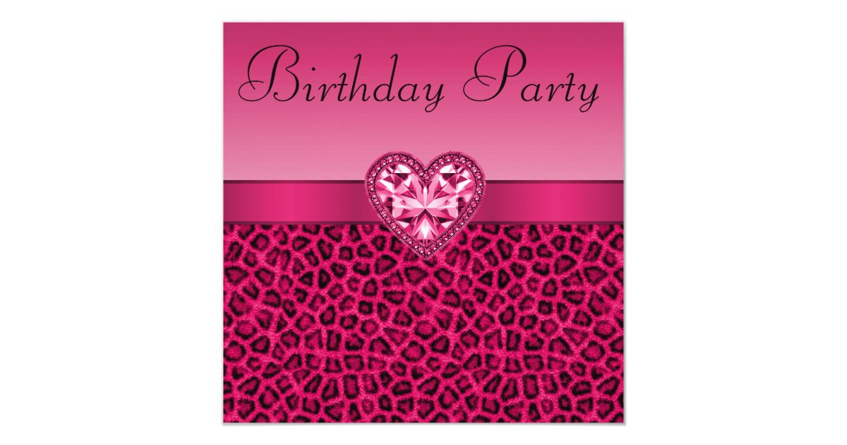 Hot Pink Leopard Print Bling Heart Birthday Card – Leopard Print Birthday Card