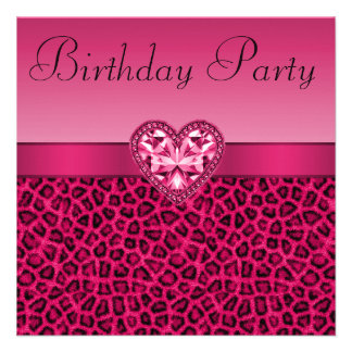 Hot Pink Leopard Print Bling Heart Birthday Personalized Invite