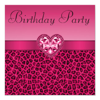 Hot Pink Leopard Print & Bling Heart Birthday 5.25x5.25 Square Paper Invitation Card
