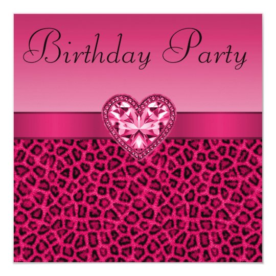 Aninimal Book: Hot Pink Leopard Print & Bling Heart Birthday Invitation ...