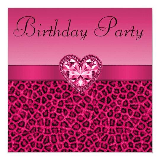 Hot Pink Leopard Print Bling Heart Birthday Invitation