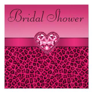 Hot Pink Leopard Print & Bling Heart Bridal Shower Card