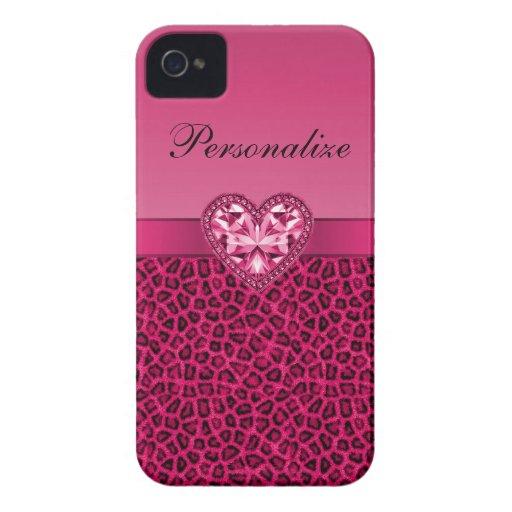 Hot Pink Leopard Print & Bling Heart iPhone 4 Case