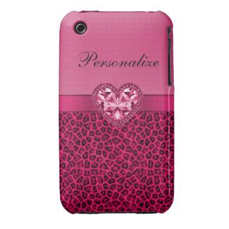 Hot Pink Leopard Print & Bling Heart iPhone 3 Case-Mate Case