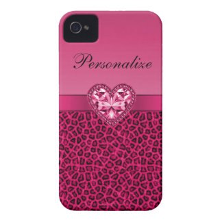 Hot Pink Leopard Print & Bling Heart iPhone 4 Case