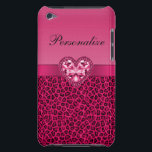 "Hot Pink Leopard Print &amp; Bling Heart iPod Case-Mate Case<br><div class=""desc"">Elegant girly personalized case with a beautiful bright, vibrant hot pink and black leopard / cheetah animal fur pattern and cute pink diamonds jewels heart and pretty pink ribbon. A trendy, chic glamorous gift for her - women and girls will love this fashionable case. Please note: All cases on the...</div>"