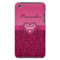 Hot Pink Leopard Print & Bling Heart iPod Case-Mate Case
