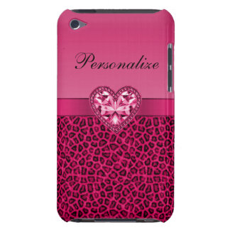 Hot Pink Leopard Print & Bling Heart iPod Case-Mate Case