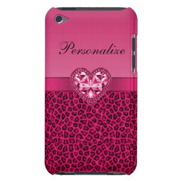 Valentines Themed Hot Pink Leopard Print & Bling Heart iPod Case-Mate Case