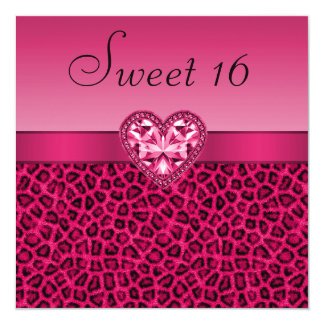 Hot Pink Leopard Print & Bling Heart Sweet 16 Card