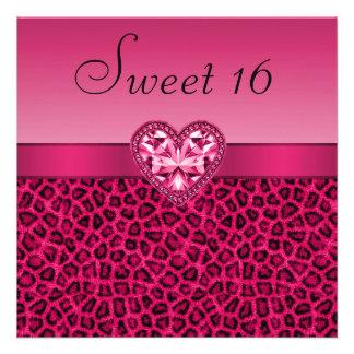 Hot Pink Leopard Print Bling Heart Sweet 16 Custom Invitation