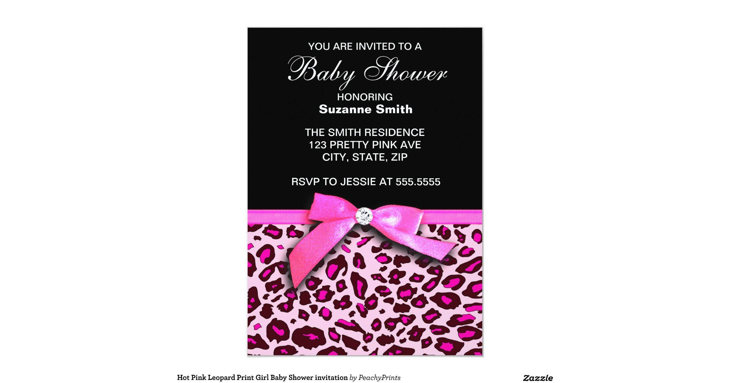 HD wallpapers pink leopard print baby shower invitations ...